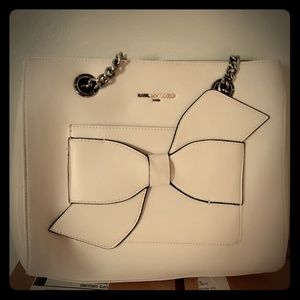White Karl Lagerfeld Bow Purse